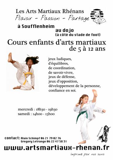 flyer arts martiaux enfants soufflenheim haguenau