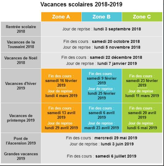 2018 2019 vacances scolaires